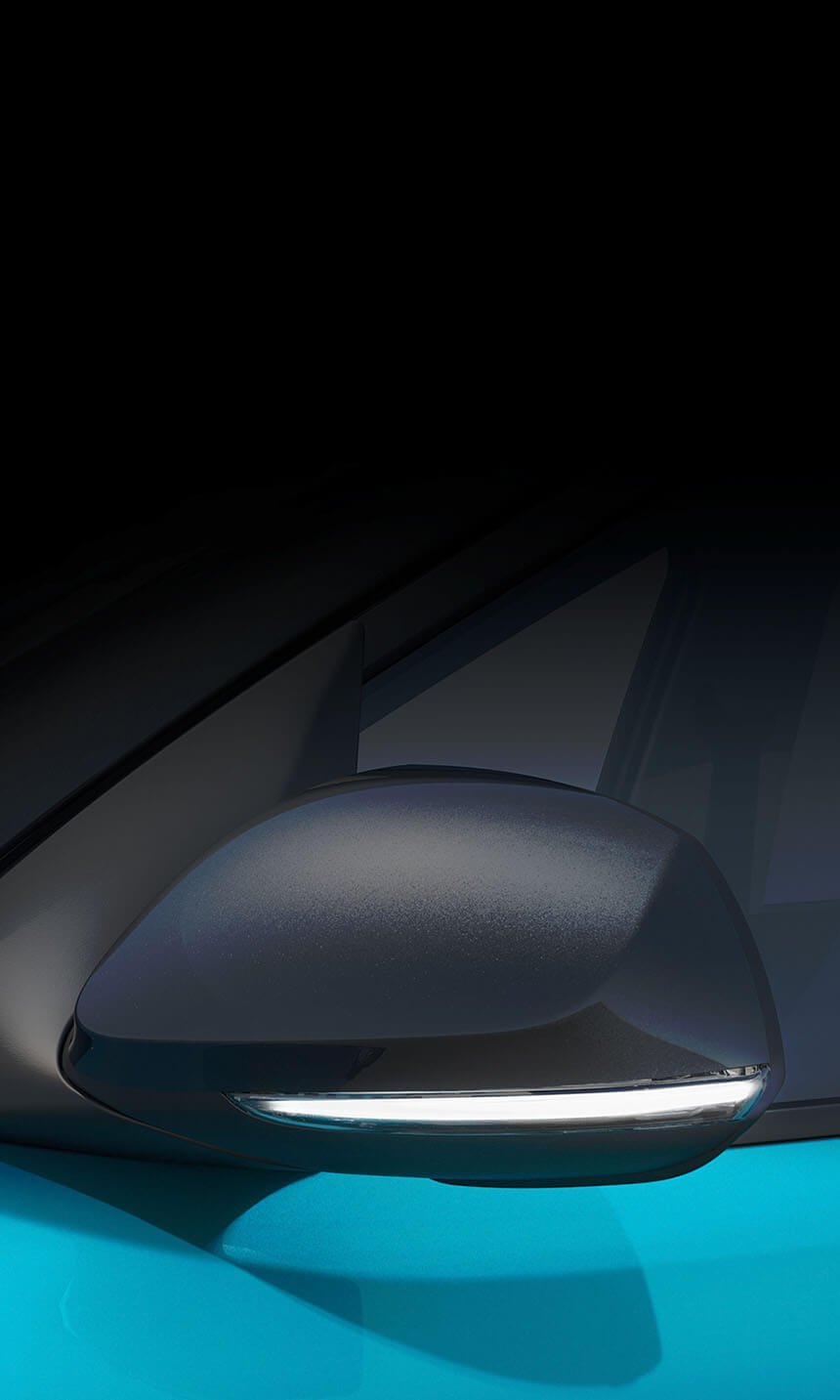 <div class='i10-2019-exterior-sliderBadge'>Side</div>Exterior mirror LED turn indicators.
